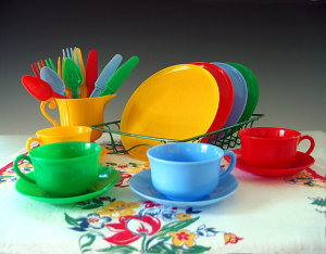 Use plastic dishes to reduce breakage