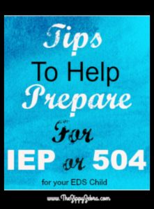 TIps to Help Prepare FOr IEP or 504 for your EDS Child PIn
