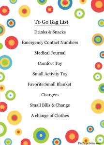 Hospital/Doctor To Go Bag List